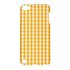 Pale Pumpkin Orange And White Halloween Gingham Check Apple Ipod Touch 5 Hardshell Case by PodArtist