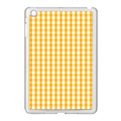 Pale Pumpkin Orange And White Halloween Gingham Check Apple Ipad Mini Case (white) by PodArtist