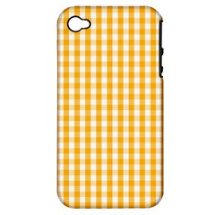 Pale Pumpkin Orange And White Halloween Gingham Check Apple Iphone 4/4s Hardshell Case (pc+silicone) by PodArtist