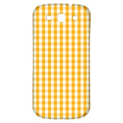 Pale Pumpkin Orange And White Halloween Gingham Check Samsung Galaxy S3 S Iii Classic Hardshell Back Case by PodArtist