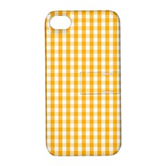 Pale Pumpkin Orange And White Halloween Gingham Check Apple Iphone 4/4s Hardshell Case With Stand by PodArtist