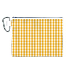 Pale Pumpkin Orange And White Halloween Gingham Check Canvas Cosmetic Bag (l) by PodArtist