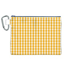 Pale Pumpkin Orange And White Halloween Gingham Check Canvas Cosmetic Bag (xl) by PodArtist
