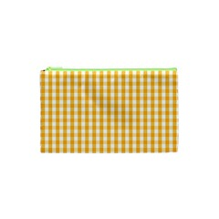 Pale Pumpkin Orange And White Halloween Gingham Check Cosmetic Bag (xs) by PodArtist