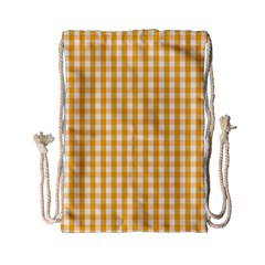 Pale Pumpkin Orange And White Halloween Gingham Check Drawstring Bag (small) by PodArtist