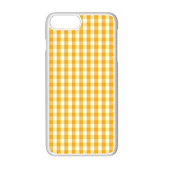 Pale Pumpkin Orange And White Halloween Gingham Check Apple Iphone 7 Plus White Seamless Case by PodArtist