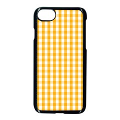 Pale Pumpkin Orange And White Halloween Gingham Check Apple Iphone 7 Seamless Case (black) by PodArtist