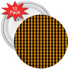Pale Pumpkin Orange And Black Halloween Gingham Check 3  Buttons (10 Pack)  by PodArtist