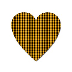 Pale Pumpkin Orange And Black Halloween Gingham Check Heart Magnet by PodArtist