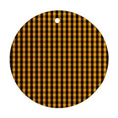 Pale Pumpkin Orange And Black Halloween Gingham Check Round Ornament (two Sides) by PodArtist