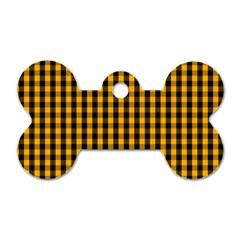 Pale Pumpkin Orange And Black Halloween Gingham Check Dog Tag Bone (two Sides) by PodArtist