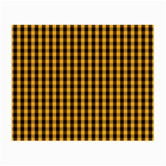 Pale Pumpkin Orange And Black Halloween Gingham Check Small Glasses Cloth (2 Side) by PodArtist
