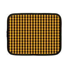 Pale Pumpkin Orange And Black Halloween Gingham Check Netbook Case (small)  by PodArtist