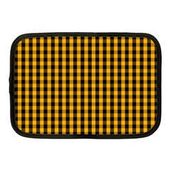 Pale Pumpkin Orange And Black Halloween Gingham Check Netbook Case (medium)  by PodArtist