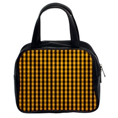 Pale Pumpkin Orange And Black Halloween Gingham Check Classic Handbags (2 Sides) by PodArtist
