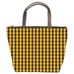 Pale Pumpkin Orange And Black Halloween Gingham Check Bucket Bags by PodArtist