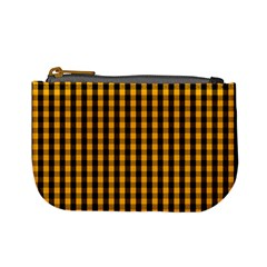 Pale Pumpkin Orange And Black Halloween Gingham Check Mini Coin Purses by PodArtist