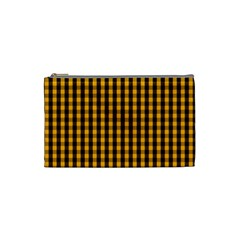 Pale Pumpkin Orange And Black Halloween Gingham Check Cosmetic Bag (small)  by PodArtist