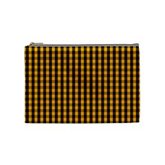 Pale Pumpkin Orange And Black Halloween Gingham Check Cosmetic Bag (medium)  by PodArtist