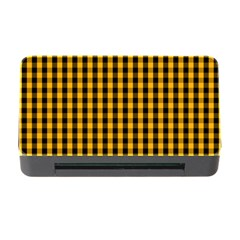 Pale Pumpkin Orange And Black Halloween Gingham Check Memory Card Reader With Cf by PodArtist