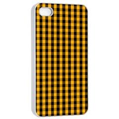 Pale Pumpkin Orange And Black Halloween Gingham Check Apple Iphone 4/4s Seamless Case (white) by PodArtist