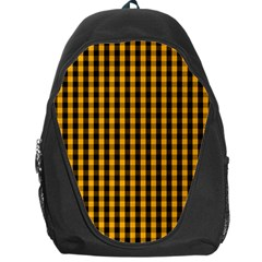 Pale Pumpkin Orange And Black Halloween Gingham Check Backpack Bag by PodArtist