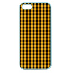 Pale Pumpkin Orange And Black Halloween Gingham Check Apple Seamless Iphone 5 Case (color) by PodArtist
