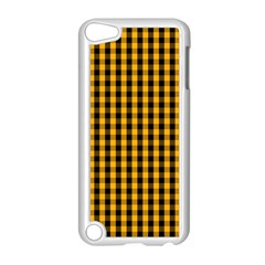 Pale Pumpkin Orange And Black Halloween Gingham Check Apple Ipod Touch 5 Case (white) by PodArtist
