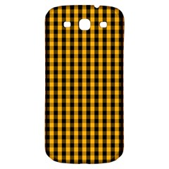 Pale Pumpkin Orange And Black Halloween Gingham Check Samsung Galaxy S3 S Iii Classic Hardshell Back Case by PodArtist