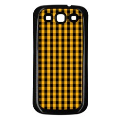 Pale Pumpkin Orange And Black Halloween Gingham Check Samsung Galaxy S3 Back Case (black) by PodArtist