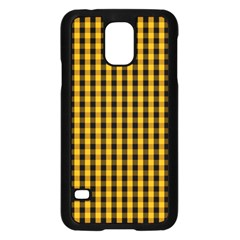 Pale Pumpkin Orange And Black Halloween Gingham Check Samsung Galaxy S5 Case (black) by PodArtist
