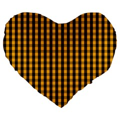 Pale Pumpkin Orange And Black Halloween Gingham Check Large 19  Premium Flano Heart Shape Cushions by PodArtist