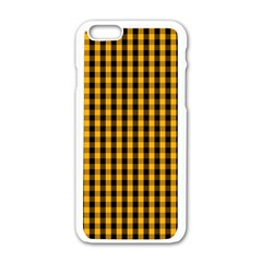 Pale Pumpkin Orange And Black Halloween Gingham Check Apple Iphone 6/6s White Enamel Case by PodArtist