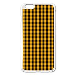 Pale Pumpkin Orange And Black Halloween Gingham Check Apple Iphone 6 Plus/6s Plus Enamel White Case by PodArtist