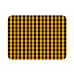 Pale Pumpkin Orange And Black Halloween Gingham Check Double Sided Flano Blanket (mini)  by PodArtist