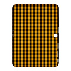 Pale Pumpkin Orange And Black Halloween Gingham Check Samsung Galaxy Tab 4 (10 1 ) Hardshell Case  by PodArtist