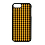 Pale Pumpkin Orange and Black Halloween Gingham Check Apple iPhone 7 Plus Seamless Case (Black) Front