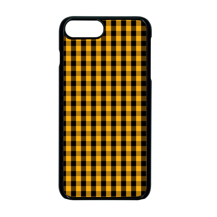 Pale Pumpkin Orange and Black Halloween Gingham Check Apple iPhone 7 Plus Seamless Case (Black)