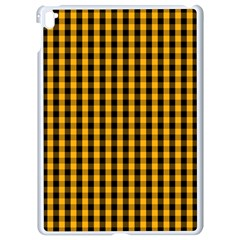 Pale Pumpkin Orange And Black Halloween Gingham Check Apple Ipad Pro 9 7   White Seamless Case by PodArtist