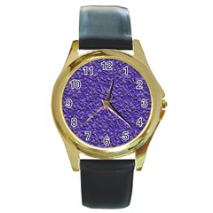 Jagged Stone Blue Round Gold Metal Watch