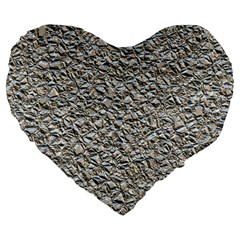 Jagged Stone Silver Large 19  Premium Flano Heart Shape Cushions by MoreColorsinLife