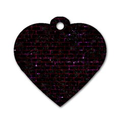 Brick1 Black Marble & Burgundy Marble Dog Tag Heart (one Side) by trendistuff