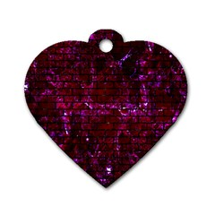 Brick1 Black Marble & Burgundy Marble (r) Dog Tag Heart (one Side) by trendistuff