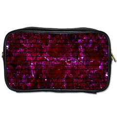 Brick1 Black Marble & Burgundy Marble (r) Toiletries Bags by trendistuff