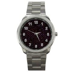 Brick2 Black Marble & Burgundy Marble Sport Metal Watch by trendistuff
