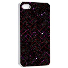 Brick2 Black Marble & Burgundy Marble Apple Iphone 4/4s Seamless Case (white) by trendistuff