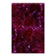 Brick2 Black Marble & Burgundy Marble (r) Shower Curtain 48  X 72  (small)  by trendistuff