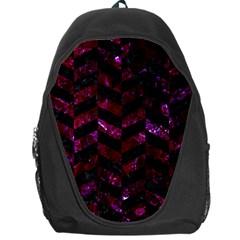 Chevron1 Black Marble & Burgundy Marble Backpack Bag by trendistuff
