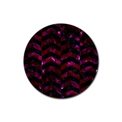 Chevron2 Black Marble & Burgundy Marble Rubber Coaster (round)  by trendistuff