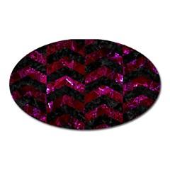 Chevron2 Black Marble & Burgundy Marble Oval Magnet by trendistuff